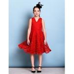 Knee-length Lace Junior Bridesmaid Dress - Ruby A-line V-neck Junior Bridesmaid Dresses