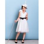 Knee-length Tulle Junior Bridesmaid Dress - Ivory A-line V-neck Junior Bridesmaid Dresses