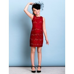 Short/Mini Lace Junior Bridesmaid Dress - Burgundy Sheath/Column Jewel