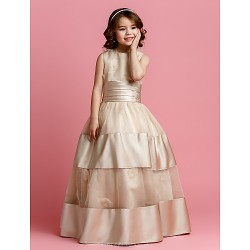Ball Gown Floor Length Flower Girl Dress Organza Satin Sleeveless