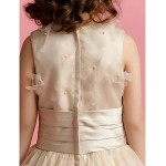 Ball Gown Floor-length Flower Girl Dress - Organza/Satin Sleeveless Flower Girl Dresses