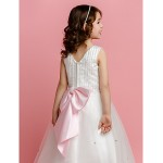 A-line/Princess Floor-length Flower Girl Dress - Satin/Tulle Sleeveless Flower Girl Dresses