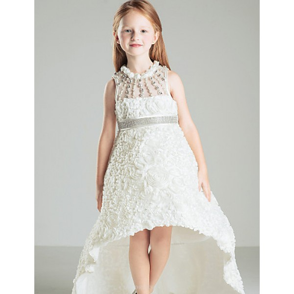 Ball Gown Court Train Flower Girl Dress - Satin Sleeveless Flower Girl Dresses