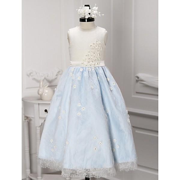 A-line Ankle-length Flower Girl Dress - Lace Sleeveless Flower Girl Dresses