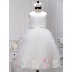 A Line Ankle Length Flower Girl Dress Satin Tulle Sleeveless