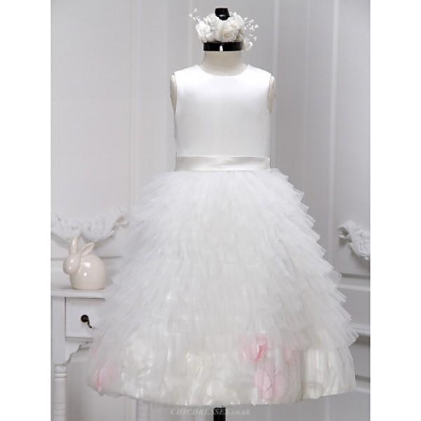 A-line Ankle-length Flower Girl Dress - Satin / Tulle Sleeveless Flower Girl Dresses