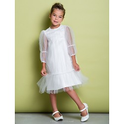 A-line Knee-length Flower Girl Dress - Tulle 3/4 Length Sleeve