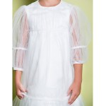 A-line Knee-length Flower Girl Dress - Tulle 3/4 Length Sleeve Flower Girl Dresses