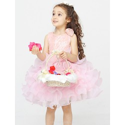 A-line Knee-length Flower Girl Dress - Cotton / Organza / Polyester Sleeveless
