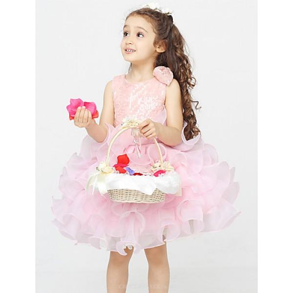A-line Knee-length Flower Girl Dress - Cotton / Organza / Polyester Sleeveless Flower Girl Dresses
