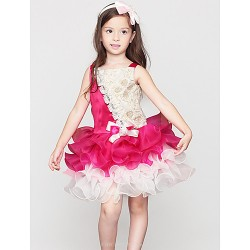A-line Knee-length Flower Girl Dress - Cotton / Satin Sleeveless