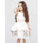 A-line Knee-length Flower Girl Dress - Cotton / Organza Sleeveless Flower Girl Dresses