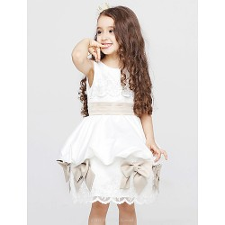 A-line Knee-length Flower Girl Dress - Cotton / Organza Sleeveless