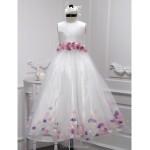 A-line Floor-length Flower Girl Dress - Taffeta / Tulle Sleeveless Flower Girl Dresses