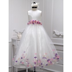 A-line Floor-length Flower Girl Dress - Taffeta / Tulle Sleeveless
