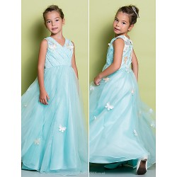 A-line Floor-length Flower Girl Dress - Lace Sleeveless