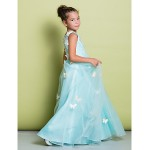 A-line Floor-length Flower Girl Dress - Lace Sleeveless Flower Girl Dresses