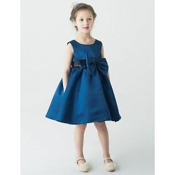 A Line Knee Length Flower Girl Dress Satin Sleeveless