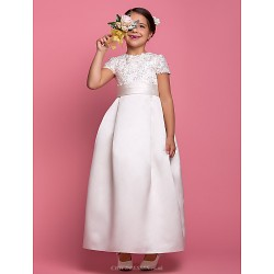A Line Ankle Length Flower Girl Dress Satin Short Sleeve