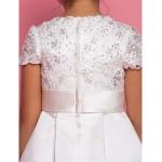 A-line Ankle-length Flower Girl Dress - Satin Short Sleeve Flower Girl Dresses