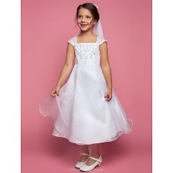 A-line Tea-length Flower Girl Dress - Organza Sleeveless