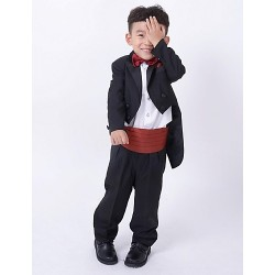 Dark Navy Burgundy Polester Cotton Blend Ring Bearer Suit 4 Pieces