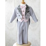 Pink / White Polester/Cotton Blend Ring Bearer Suit - 5 Pieces Flower Girl Dresses