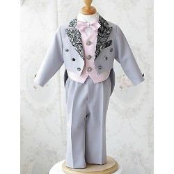 Pink / White Polester/Cotton Blend Ring Bearer Suit - 5 Pieces