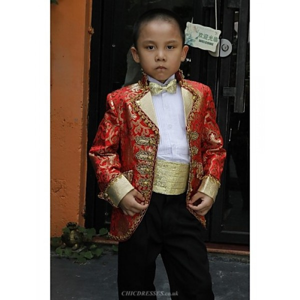 Red Polyester Ring Bearer Suit - 5 Pieces Flower Girl Dresses