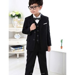 Black Dark Navy Polyester Ring Bearer Suit 5 Pieces