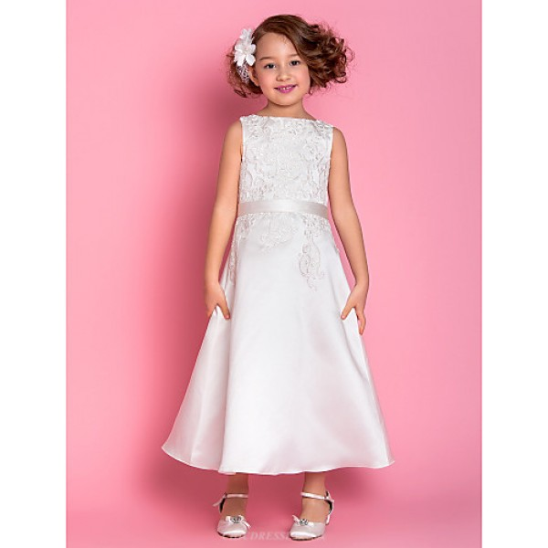 A-line Tea-length Flower Girl Dress - Satin Sleeveless Flower Girl Dresses