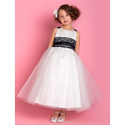 A Line Princess Ankle Length Flower Girl Dress Satin Tulle Sleeveless