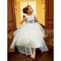 A-line/Princess Tea-length Flower Girl Dress - Organza Sleeveless