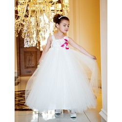 A-line/Princess Ankle-length Flower Girl Dress - Tulle/Satin Sleeveless