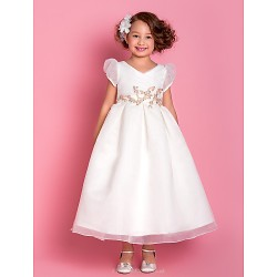 A-line/Princess Tea-length Flower Girl Dress - Organza Short Sleeve