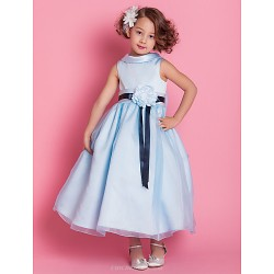 A Line Princess Ankle Length Flower Girl Dress Satin Organza Sleeveless