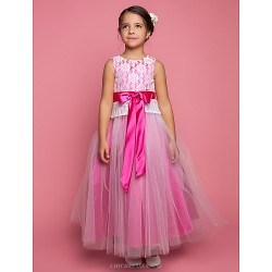 A-line/Princess Floor-length Flower Girl Dress - Lace Sleeveless