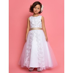 A Line Princess Ankle Length Flower Girl Dress Tulle Satin Sleeveless