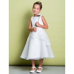 A-line Tea-length Flower Girl Dress - Lace / Organza Sleeveless