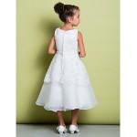 A-line Tea-length Flower Girl Dress - Lace / Organza Sleeveless Flower Girl Dresses