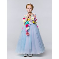 A Line Ankle Length Flower Girl Dress Tulle Polyester 3 4 Length Sleeve