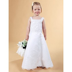 A Line Princess Floor Length Flower Girl Dress Satin Lace Sleeveless
