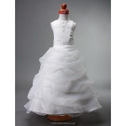 Ball Gown Floor Length Flower Girl Dress Satin Organza Sleeveless