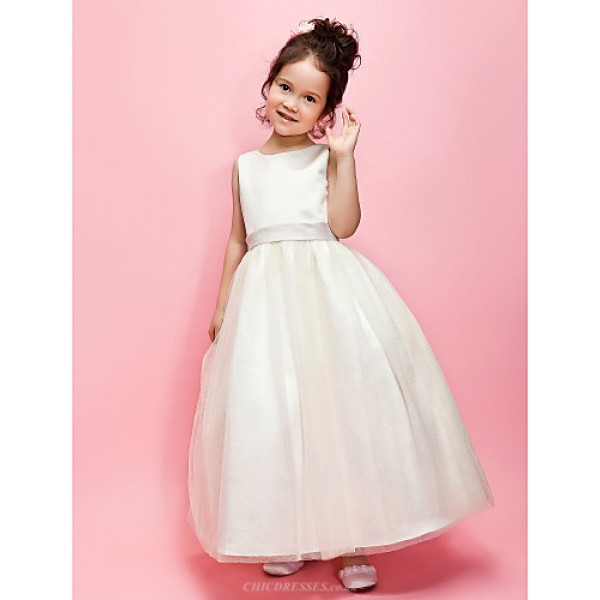 A-line/Ball Gown Ankle-length Flower Girl Dress - Satin/Tulle Sleeveless Flower Girl Dresses