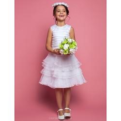 Sheath/Column Tea-length Flower Girl Dress - Organza Sleeveless
