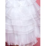 Sheath/Column Tea-length Flower Girl Dress - Organza Sleeveless Flower Girl Dresses