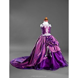Ball Gown Court Train Flower Girl Dress Satin Taffeta Sleeveless