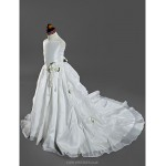 Ball Gown Court Train Flower Girl Dress - Satin/Taffeta Sleeveless Flower Girl Dresses
