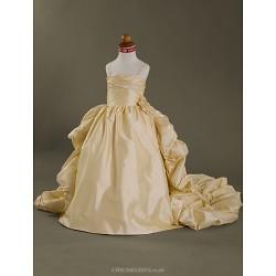 Ball Gown Court Train Flower Girl Dress - Taffeta Sleeveless