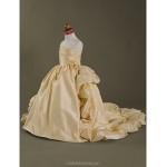 Ball Gown Court Train Flower Girl Dress - Taffeta Sleeveless Flower Girl Dresses